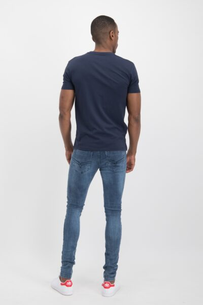 Haze&finn_heren_t-shirts_Slim_fit_crew_neck_stretch_T-shirt_navy_3