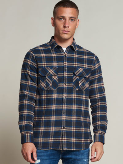 Dstrezzed_heren_Shirt_with_pockets_washed_check_flannel_1