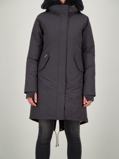 airforce_dames_jassen_Double_zip_Fishtail_parka_Gun_Metal_front