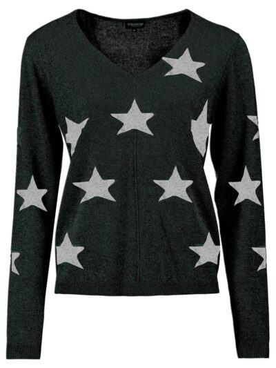 Bloomings dames V-neck pullover intarsia stars