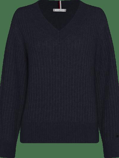 Tommy blauwe trui stitch