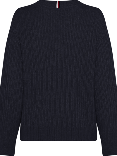 TommyHilfiger_dames_truien_Textured_Stitch_V-nk_Sweater_LS_DW5_2